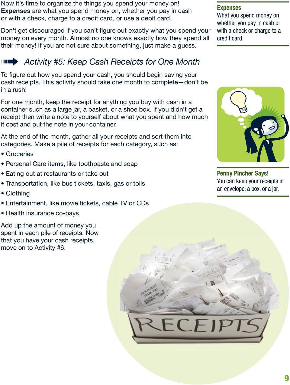 If you are not sure about something, just make a guess. Activity #5: Keep Cash Receipts for One Month To figure out how you spend your cash, you should begin saving your cash receipts.