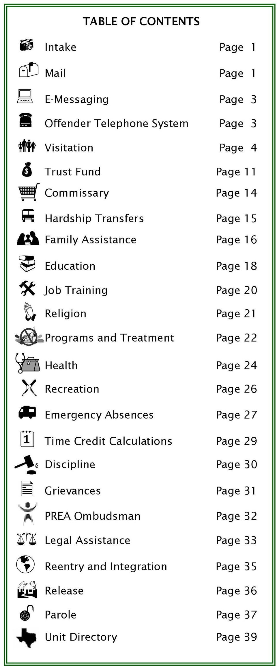 Treatment Page 22 Health Page 24 f g à % ² Recreation Page 26 Emergency Absences Page 27 Time Credit Calculations Page 29 Discipline Page 30