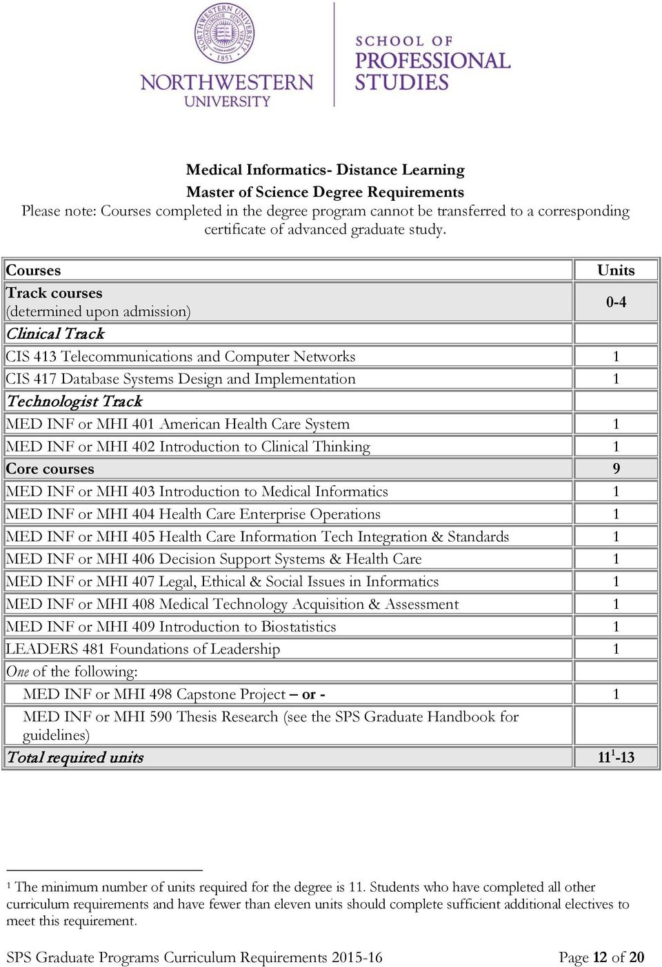 Track courses (determined upon admission) 0-4 Clinical Track CIS 413 Telecommunications and Computer Networks 1 CIS 417 Database Systems Design and Implementation 1 Technologist Track MED INF or MHI