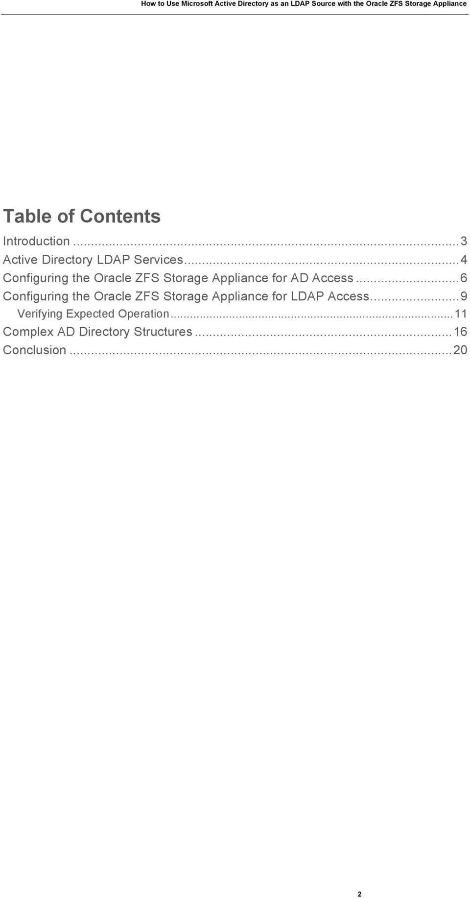 ..6 Configuring the Oracle ZFS Storage Appliance for LDAP Access.