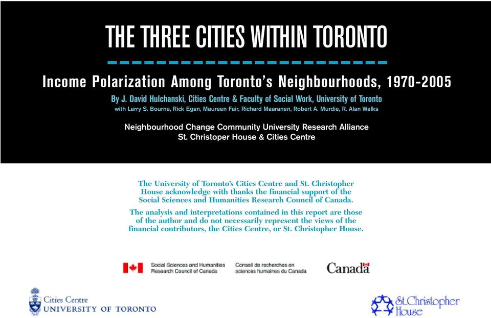 Christoper House & Cities Centre The University of Toronto s Cities Centre and St.