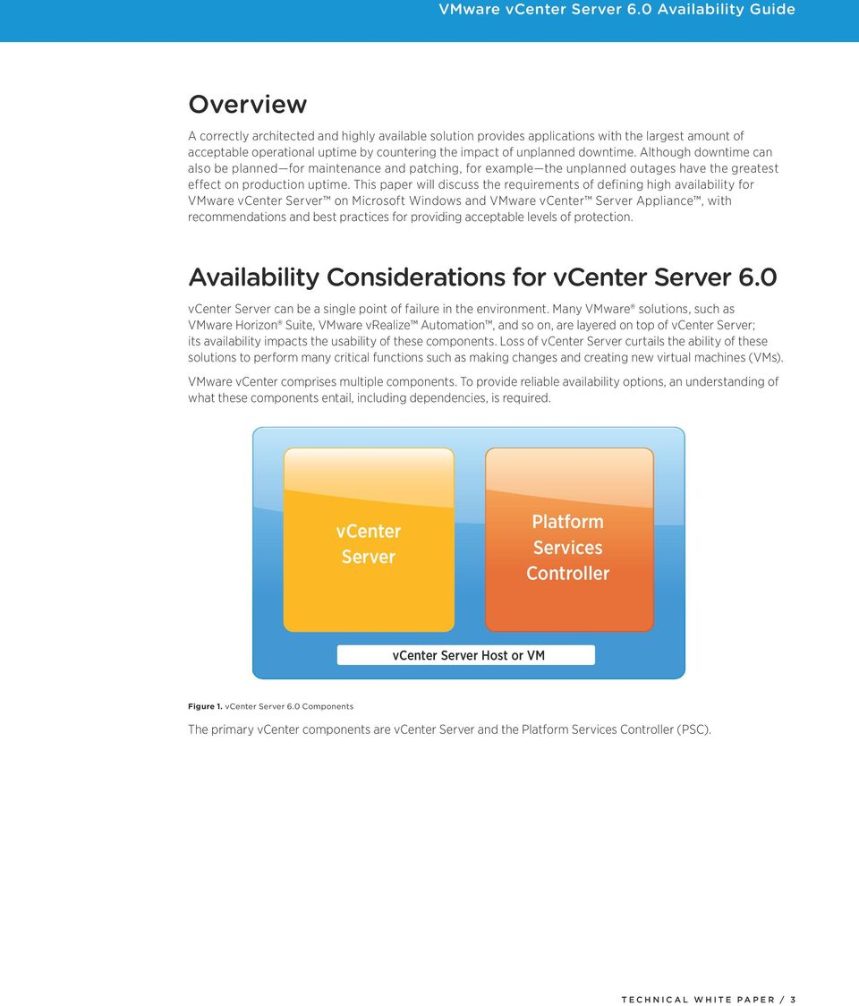 This paper will discuss the requirements of defining high availability for VMware vcenter Server on Microsoft Windows and VMware vcenter Server Appliance, with recommendations and best practices for