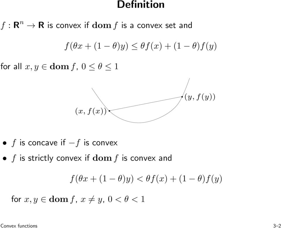 concave if f is convex f is strictly convex if domf is convex and
