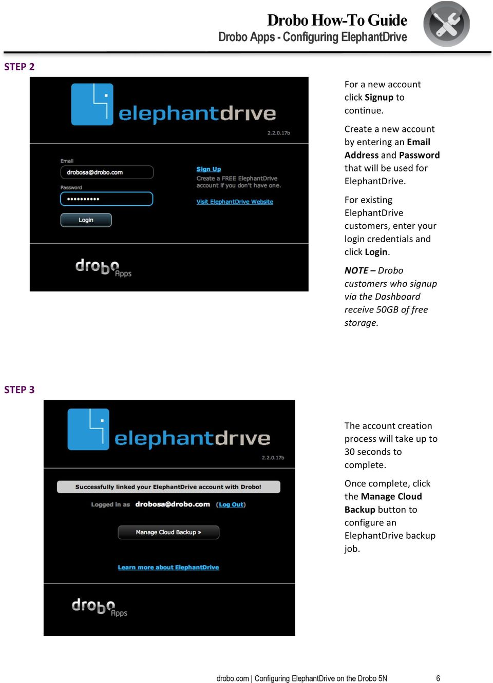 For existing ElephantDrive customers, enter your login credentials and click Login.