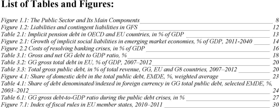 2 Costs of resolving banking crises, in % of GDP 16 Table 3.1: Gross and net GG debt to GDP ratio, % 18 Table 3.2: GG gross total debt in EU, % of GDP, 2007 2012 20 Table 3.