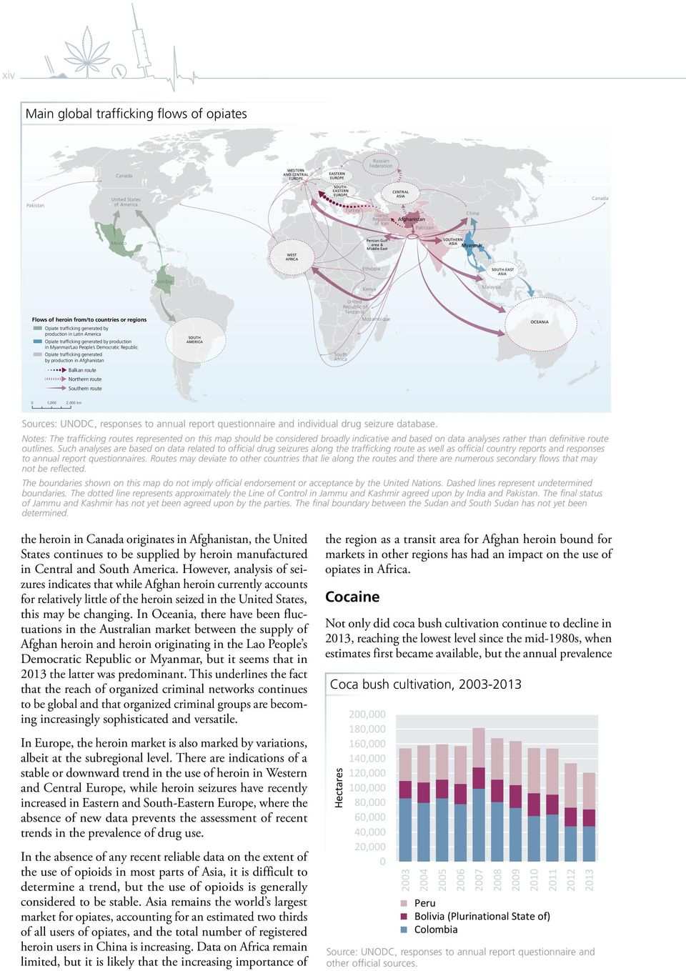 countries or regions Opiate trafficking generated by production in Latin America Opiate trafficking generated by production in Myanmar/Lao People s Democratic Republic SOUTH AMERICA United Republic
