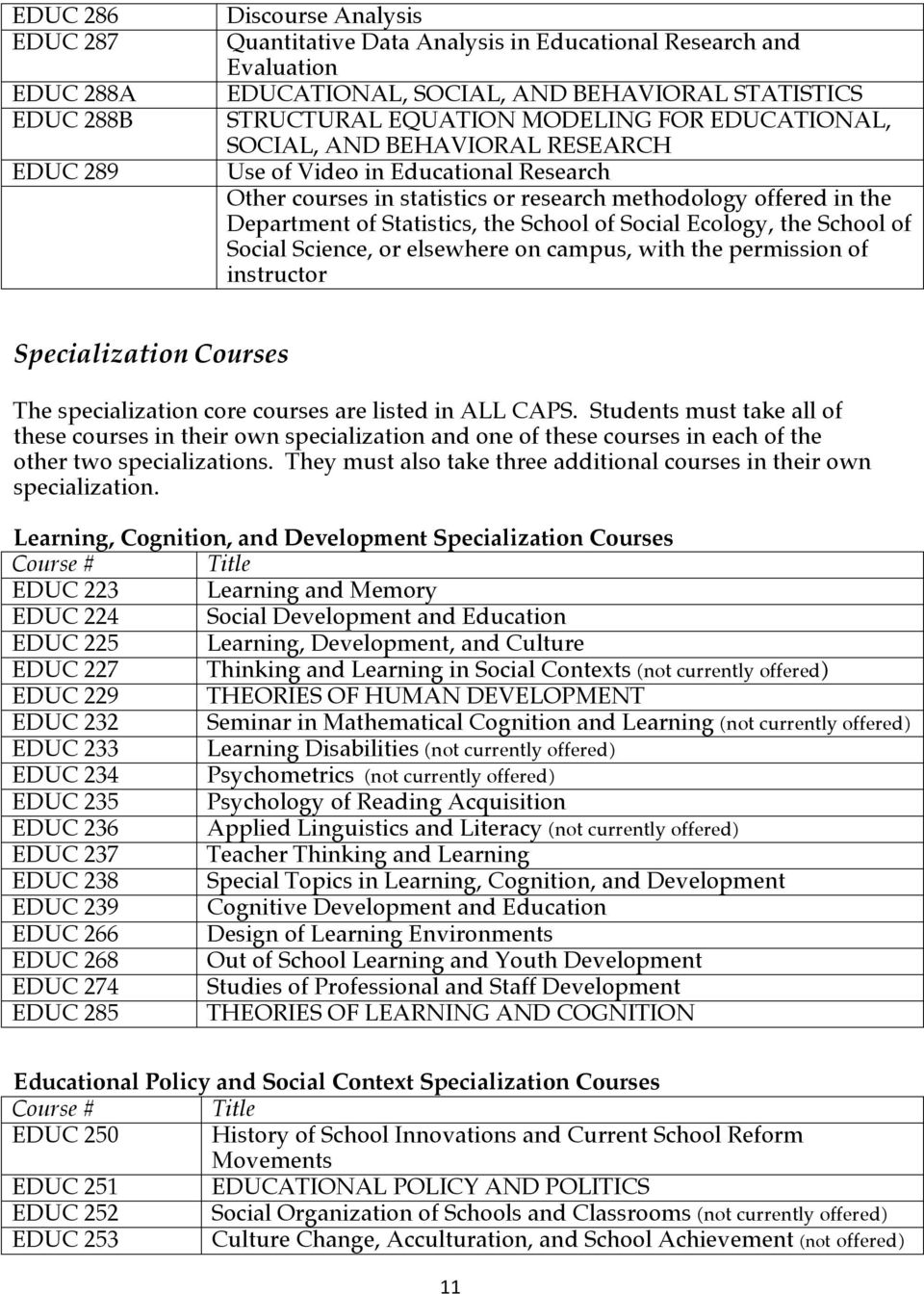 of Social Ecology, the School of Social Science, or elsewhere on campus, with the permission of instructor Specialization Courses The specialization core courses are listed in ALL CAPS.