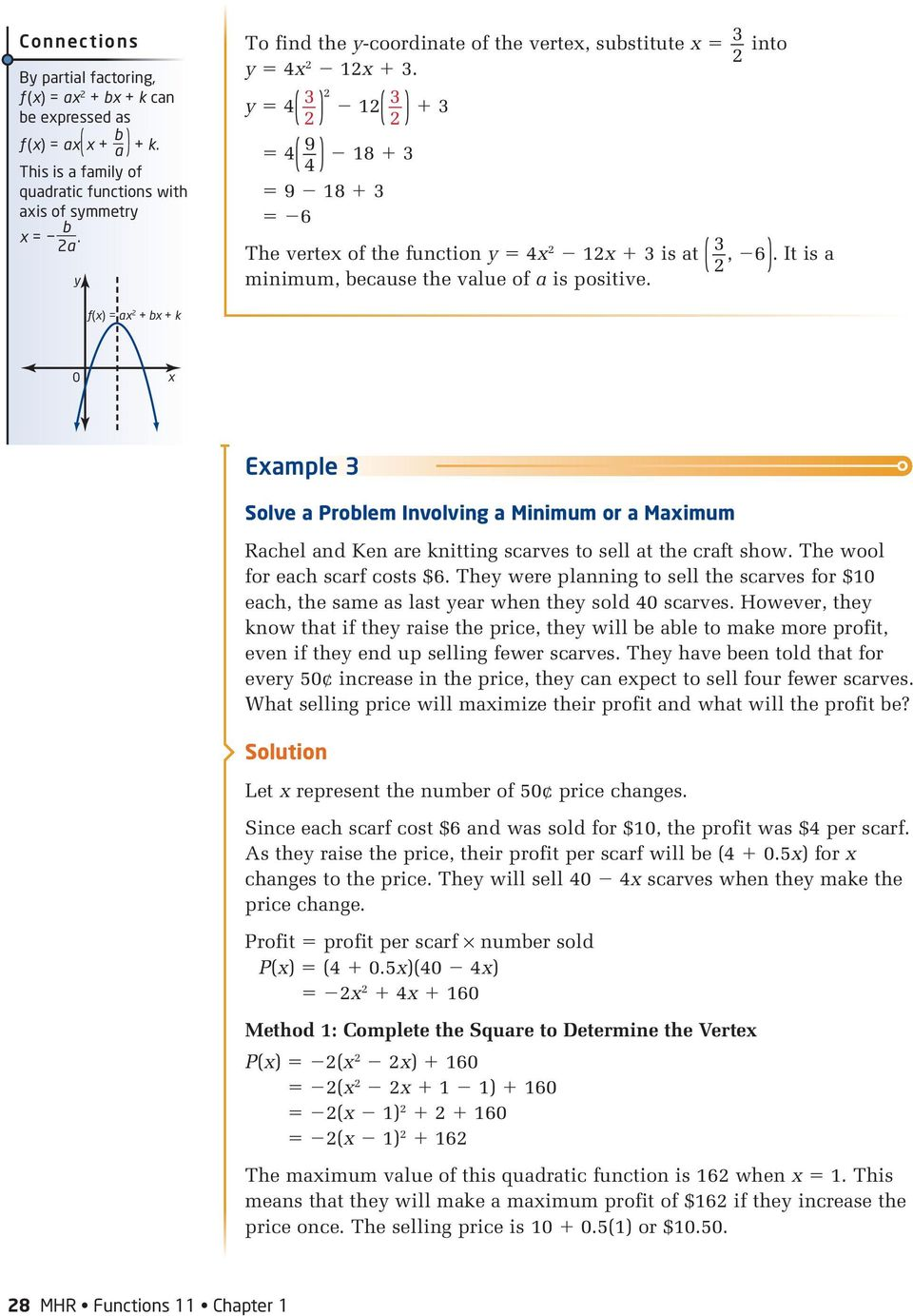 13 Maximum or Minimum of a Quadratic Function Investigate A PDF – Factoring Trinomials of the Form Ax2 Bx C Worksheet Answers
