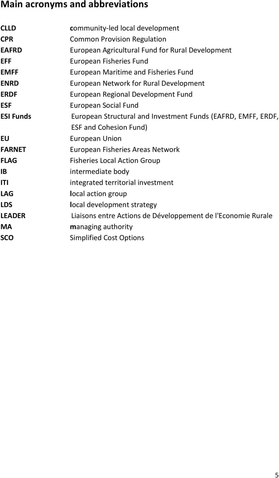 European Social Fund European Structural and Investment Funds (EAFRD, EMFF, ERDF, ESF and Cohesion Fund) European Union European Fisheries Areas Network Fisheries Local Action Group
