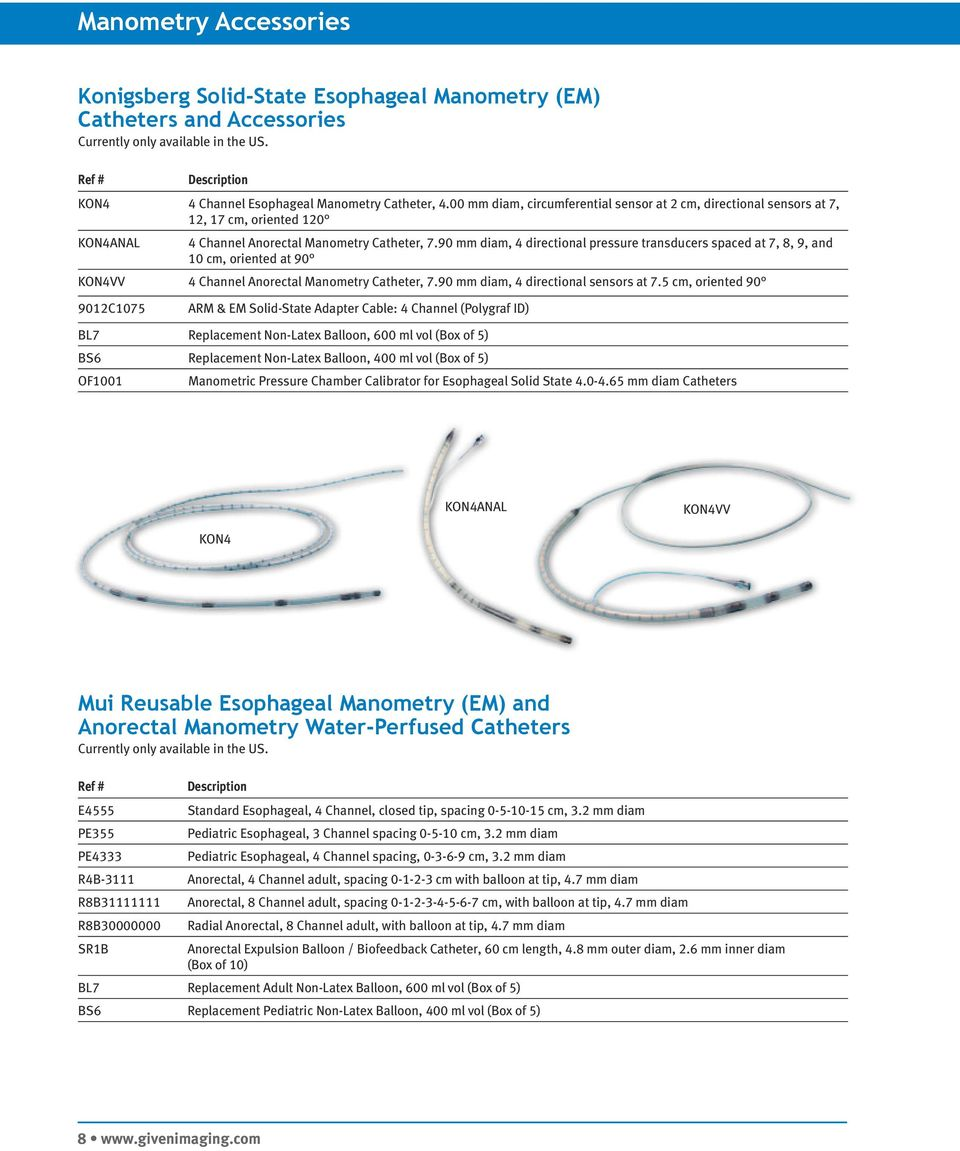 90 mm diam, 4 directional pressure transducers spaced at 7, 8, 9, and 0 cm, oriented at 90 KON4VV 4 Channel Anorectal Manometry Catheter, 7.90 mm diam, 4 directional sensors at 7.