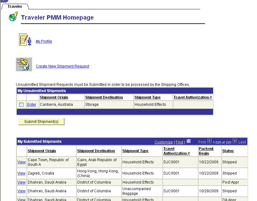 APPENDIX PMM Traveler Homepage Link to traveler s profile Link for traveler to create a new shipment request Shows a list of shipments created that have not been