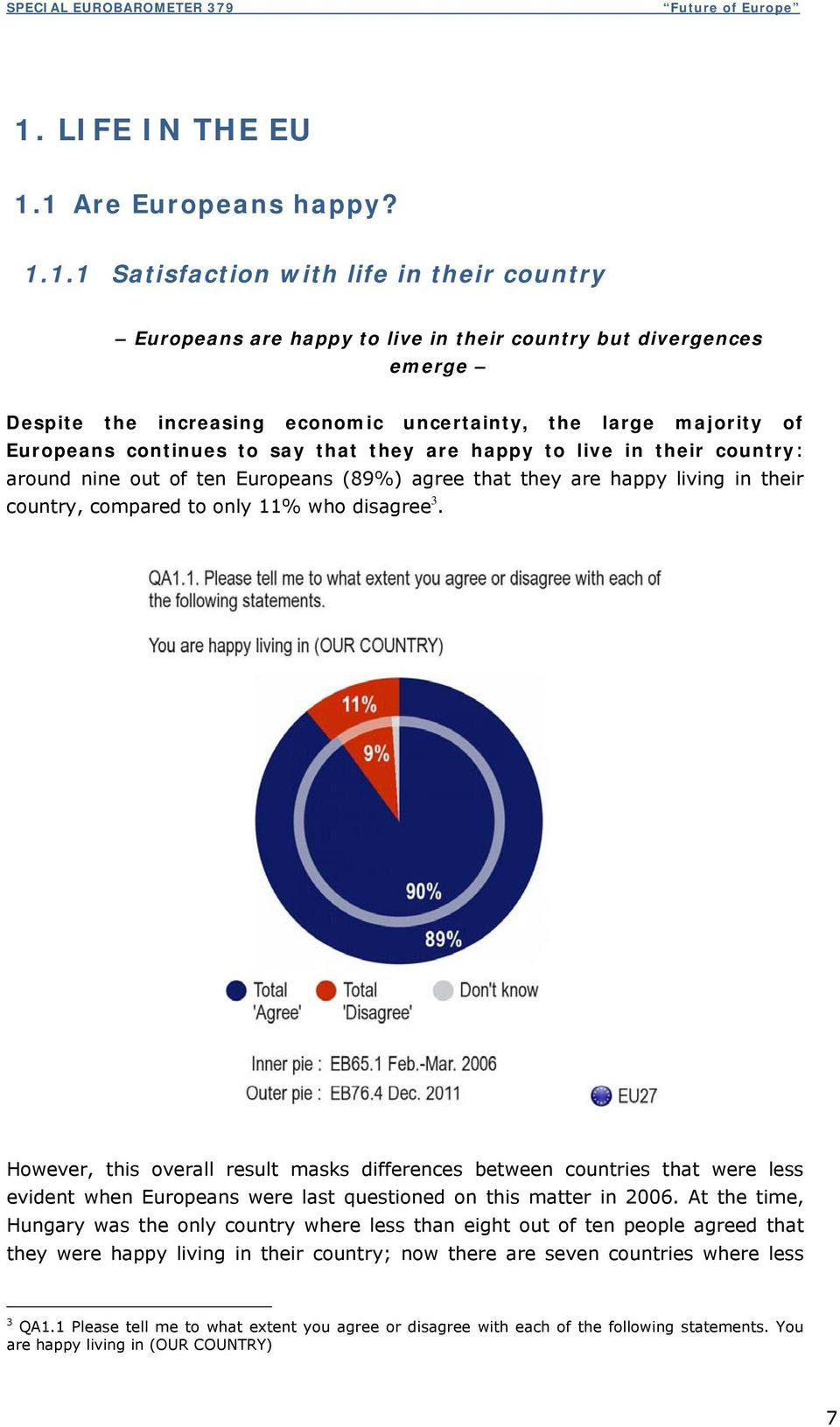 compared to only 11% who disagree 3. However, this overall result masks differences between countries that were less evident when Europeans were last questioned on this matter in 2006.