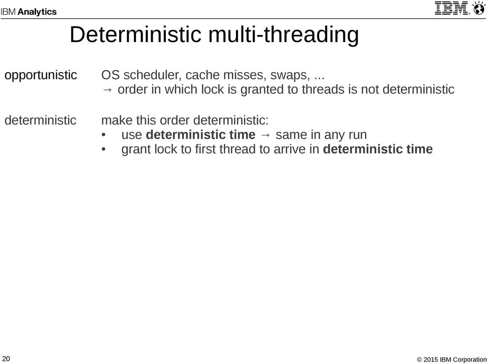.. order in which lock is granted to threads is not deterministic