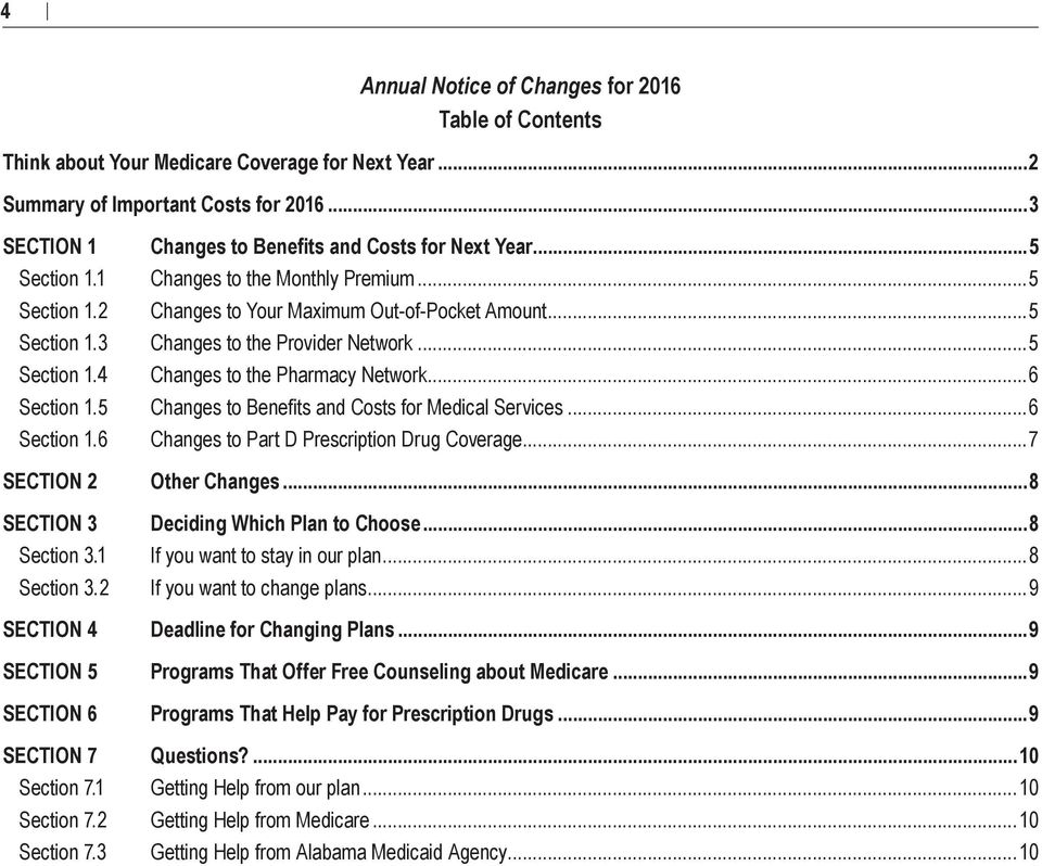 3 Changes to Benefits and Costs for Next Year...5 Changes to the Monthly Premium... 5 Changes to Your Maximum Out of Pocket Amount...5 Changes to the Provider Network.