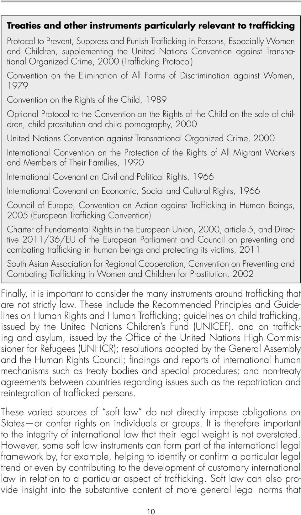 1989 Optional Protocol to the Convention on the Rights of the Child on the sale of children, child prostitution and child pornography, 2000 United Nations Convention against Transnational Organized