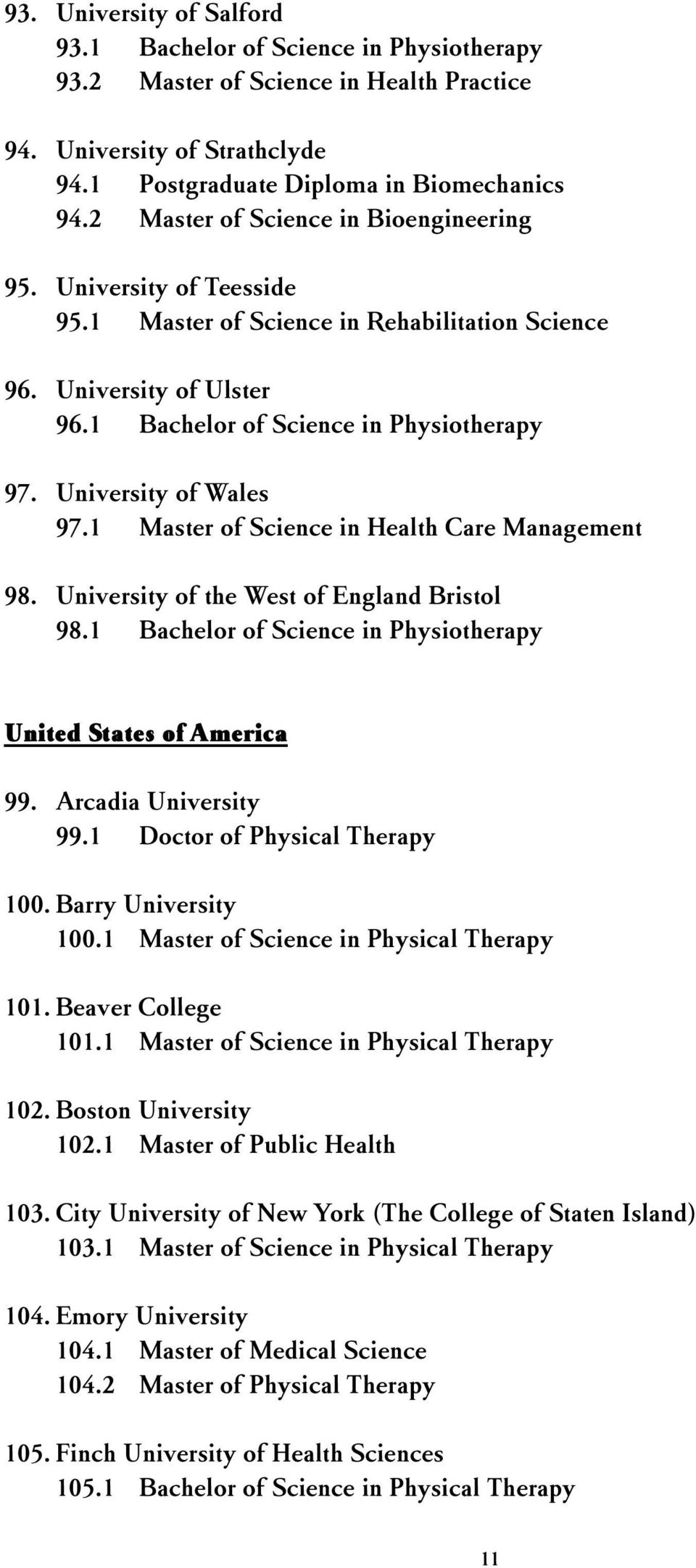 University of Wales 97.1 Master of Science in Health Care Management 98. University of the West of England Bristol 98.1 Bachelor of Science in Physiotherapy United States of America 99.