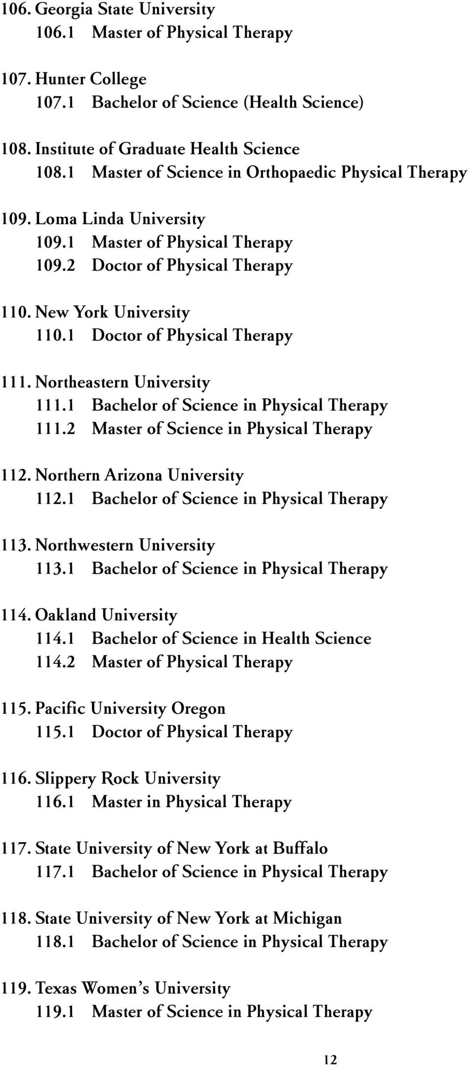 1 Doctor of Physical Therapy 111. Northeastern University 111.1 Bachelor of Science in Physical Therapy 111.2 Master of Science in Physical Therapy 112. Northern Arizona University 112.
