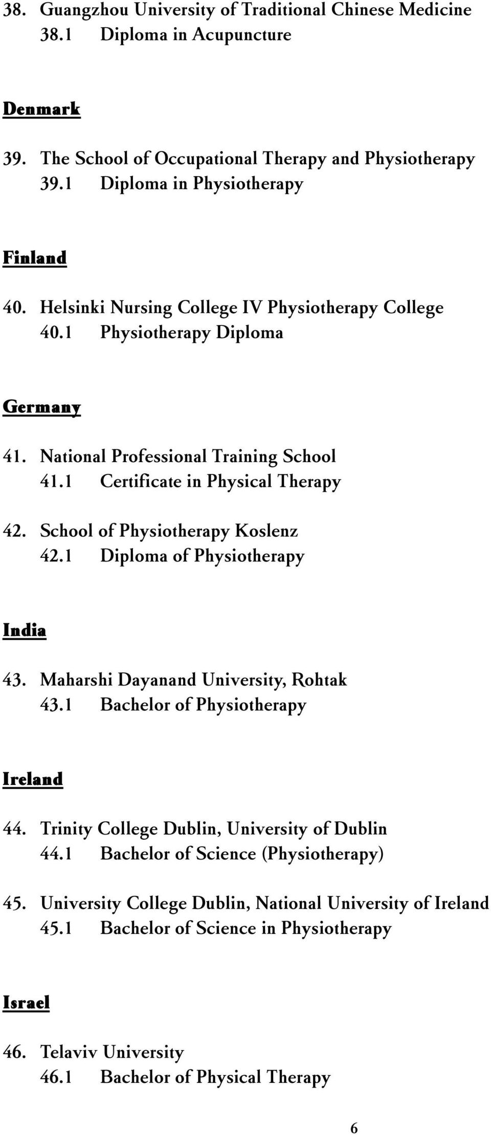 School of Physiotherapy Koslenz 42.1 Diploma of Physiotherapy India 43. Maharshi Dayanand University, Rohtak 43.1 Bachelor of Physiotherapy Ireland 44.