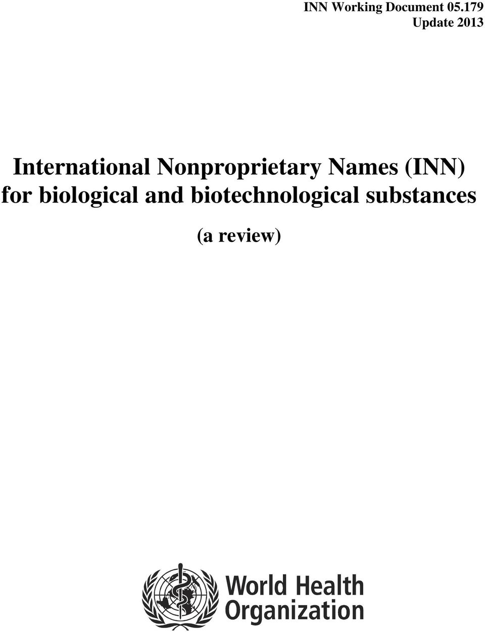 Nonproprietary Names (INN) for
