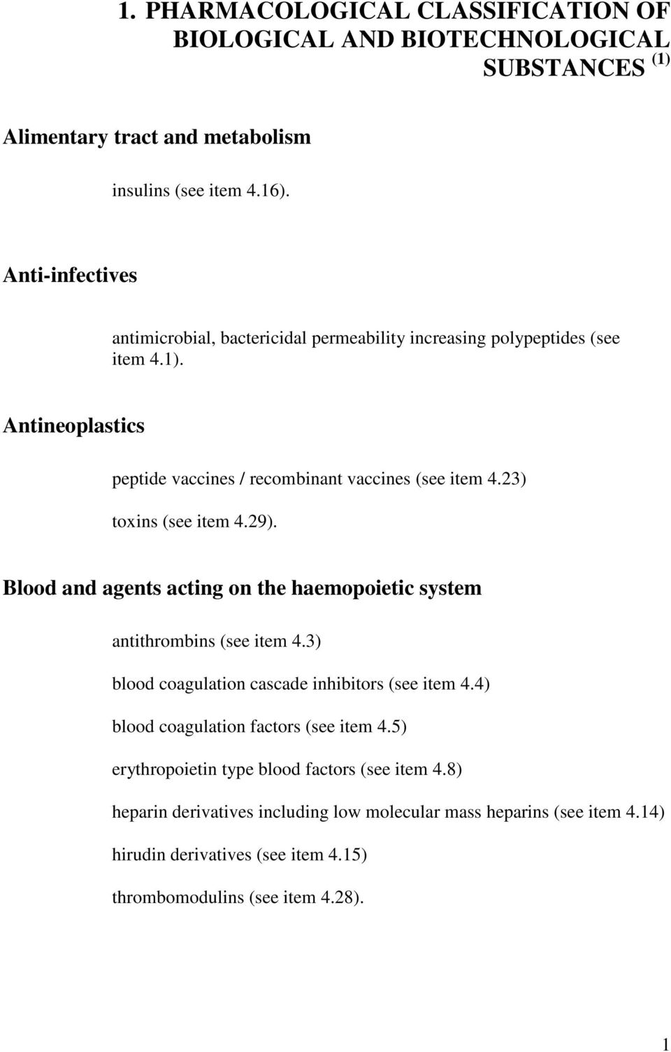 23) toxins (see item 4.29). Blood and agents acting on the haemopoietic system antithrombins (see item 4.3) blood coagulation cascade inhibitors (see item 4.