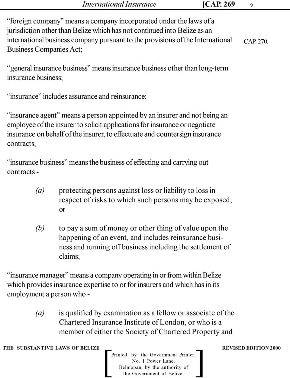 of the International Business Companies Act; 9 CAP. 270.