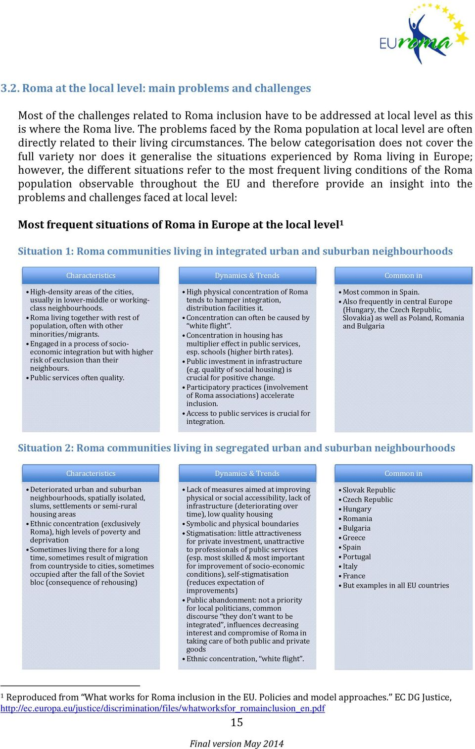 The below categorisation does not cover the full variety nor does it generalise the situations experienced by Roma living in Europe; however, the different situations refer to the most frequent