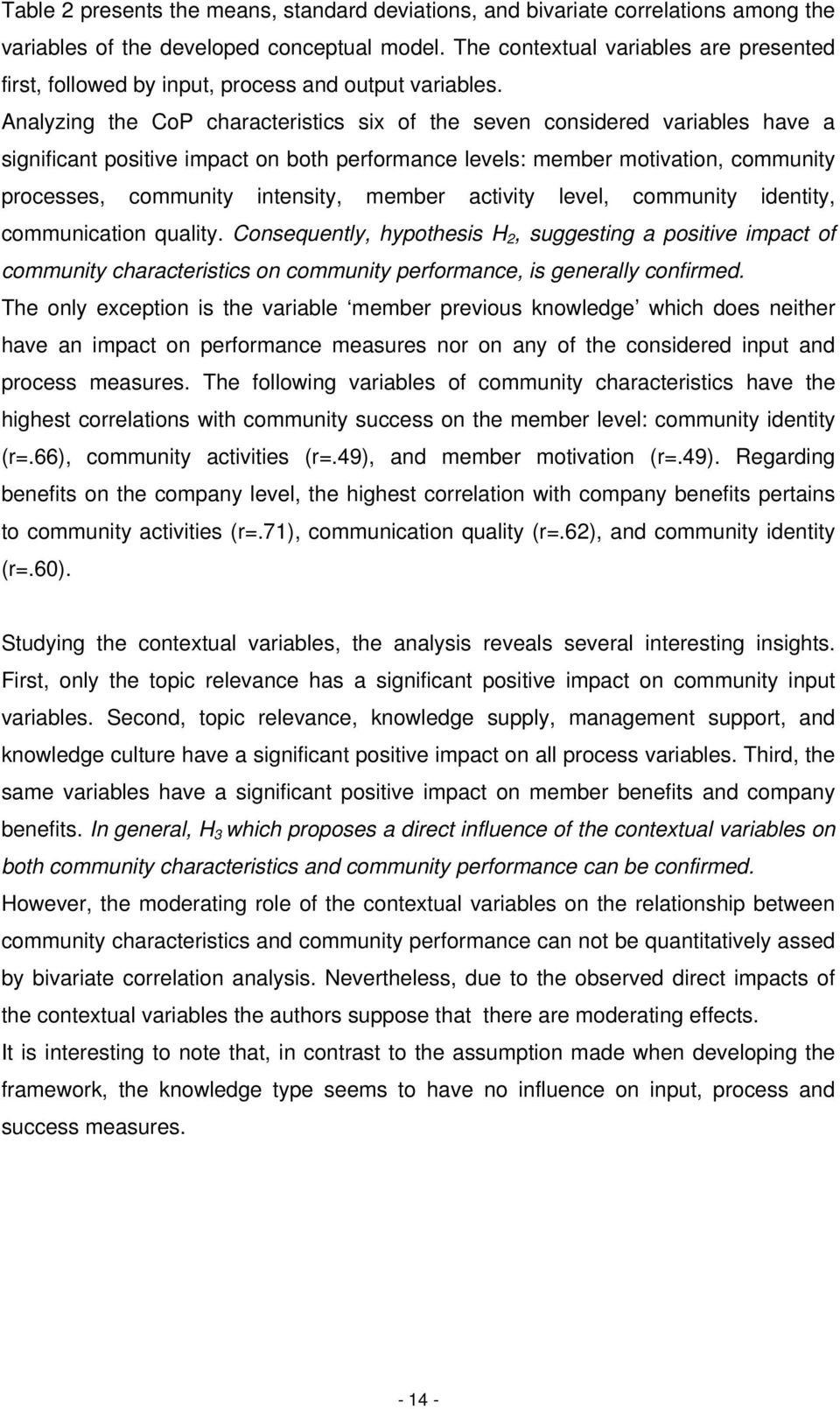 Analyzing the CoP characteristics six of the seven considered variables have a significant positive impact on both performance levels: member motivation, community processes, community intensity,