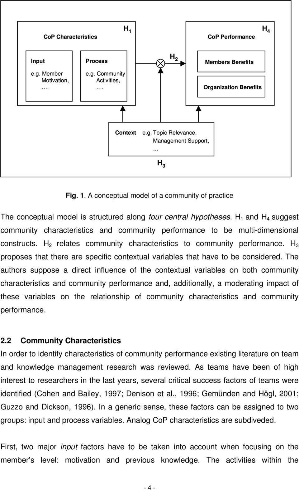 H 1 and H 4 suggest community characteristics and community performance to be multi-dimensional constructs. H 2 relates community characteristics to community performance.