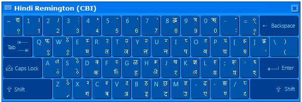 Hindi Indic Input 3 Help 7 4.3. Hindi Remington (CBI) 4.3.1.