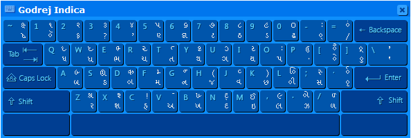 Gujarati Indic Input 3 - User Guide 8 4.5. Godrej Indica Special Combinations To type Roman Numerals (Numbers), use the Numpad Keys of the Keyboard with Caps Lock Key ON.