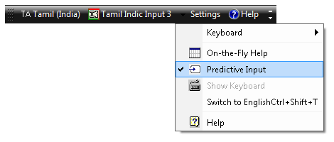 Tamil Indic Input 3 User Guide 5 5.2. Predictive Help Tool provides a simplest way to type text using predictive help.