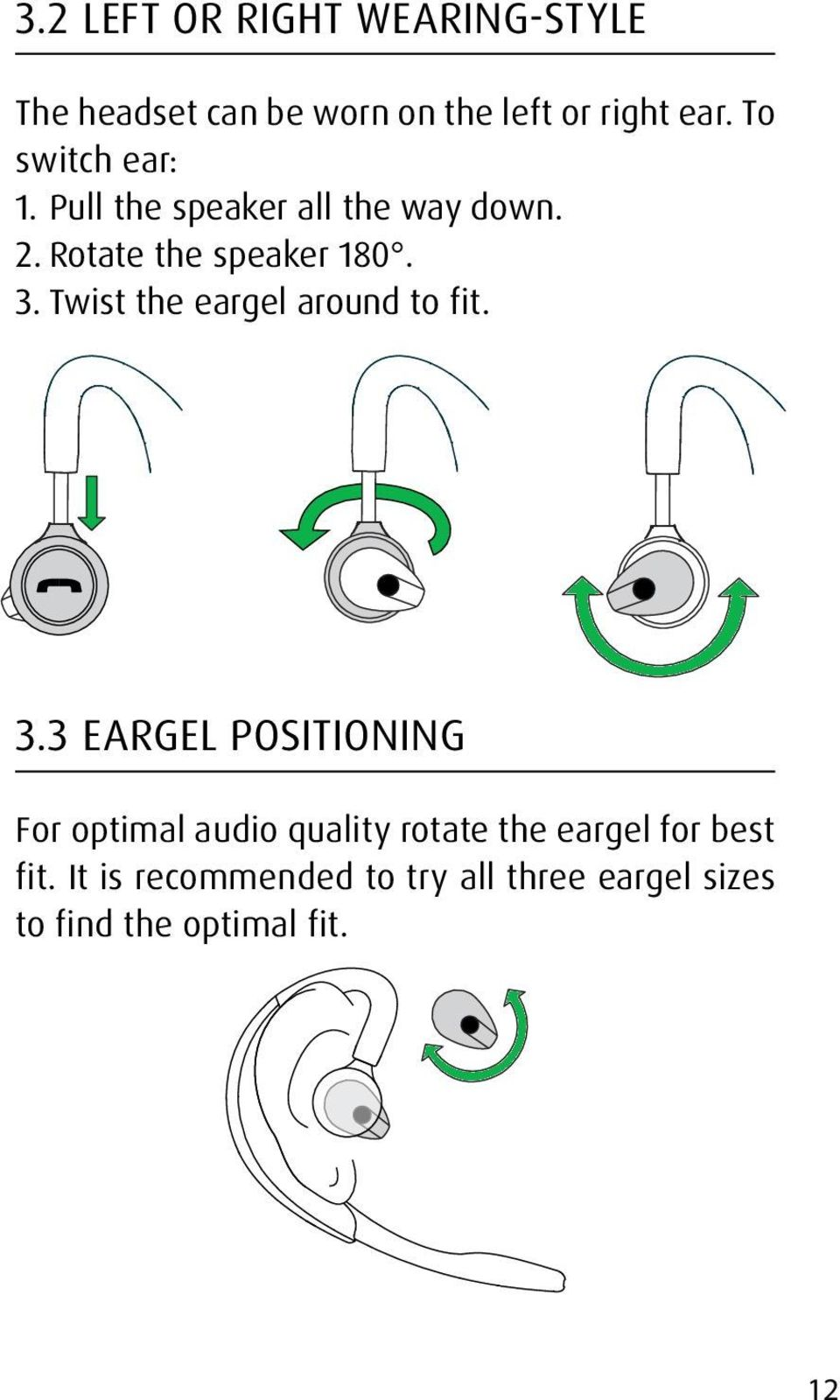 Twist the eargel around to fit. 3.