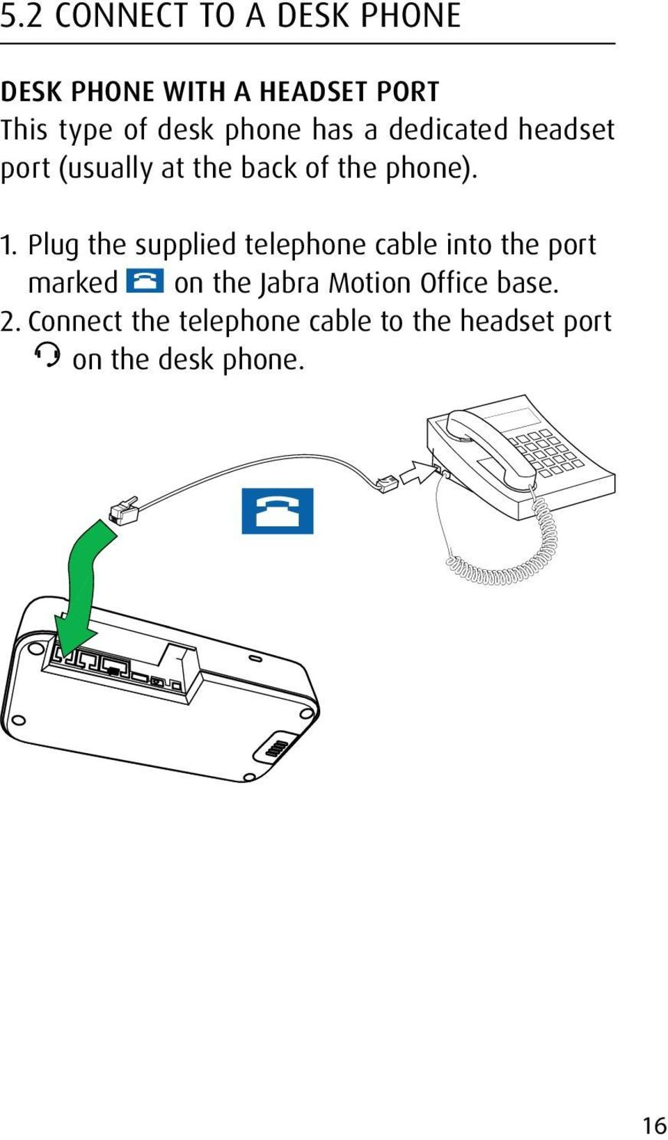 Plug the supplied telephone cable into the port marked on the Jabra Motion