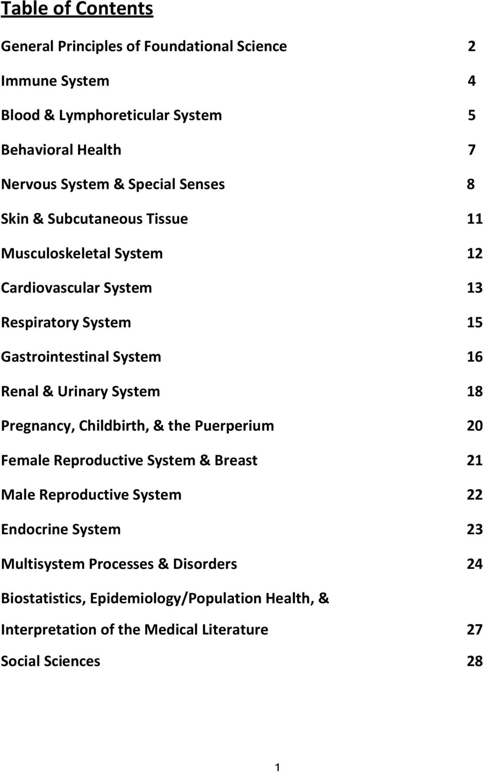 Renal & Urinary System 18 Pregnancy, Childbirth, & the Puerperium 20 Female Reproductive System & Breast 21 Male Reproductive System 22 Endocrine