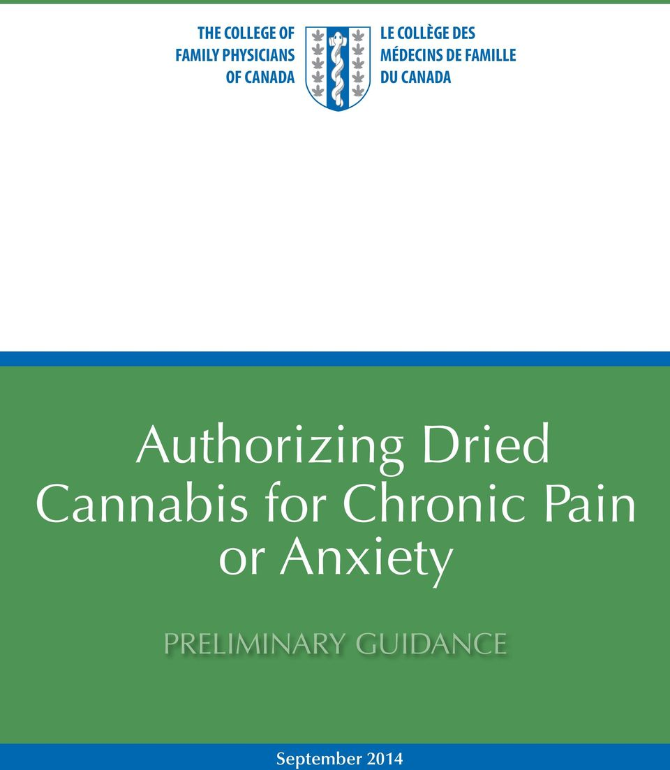 Authorizing Dried Cannabis for Chronic Pain