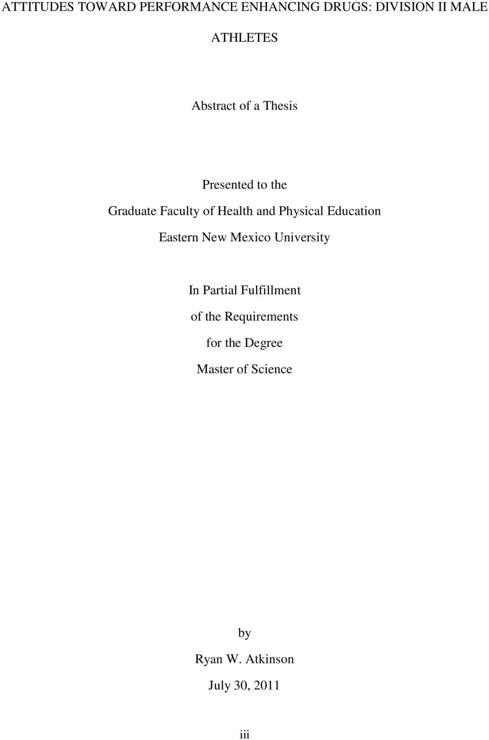 Sample thesis for physical education