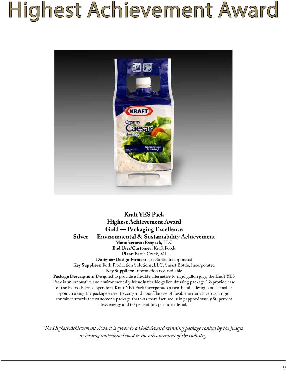 flexible alternative to rigid gallon jugs, the Kraft YES Pack is an innovative and environmentally friendly flexible gallon dressing package.