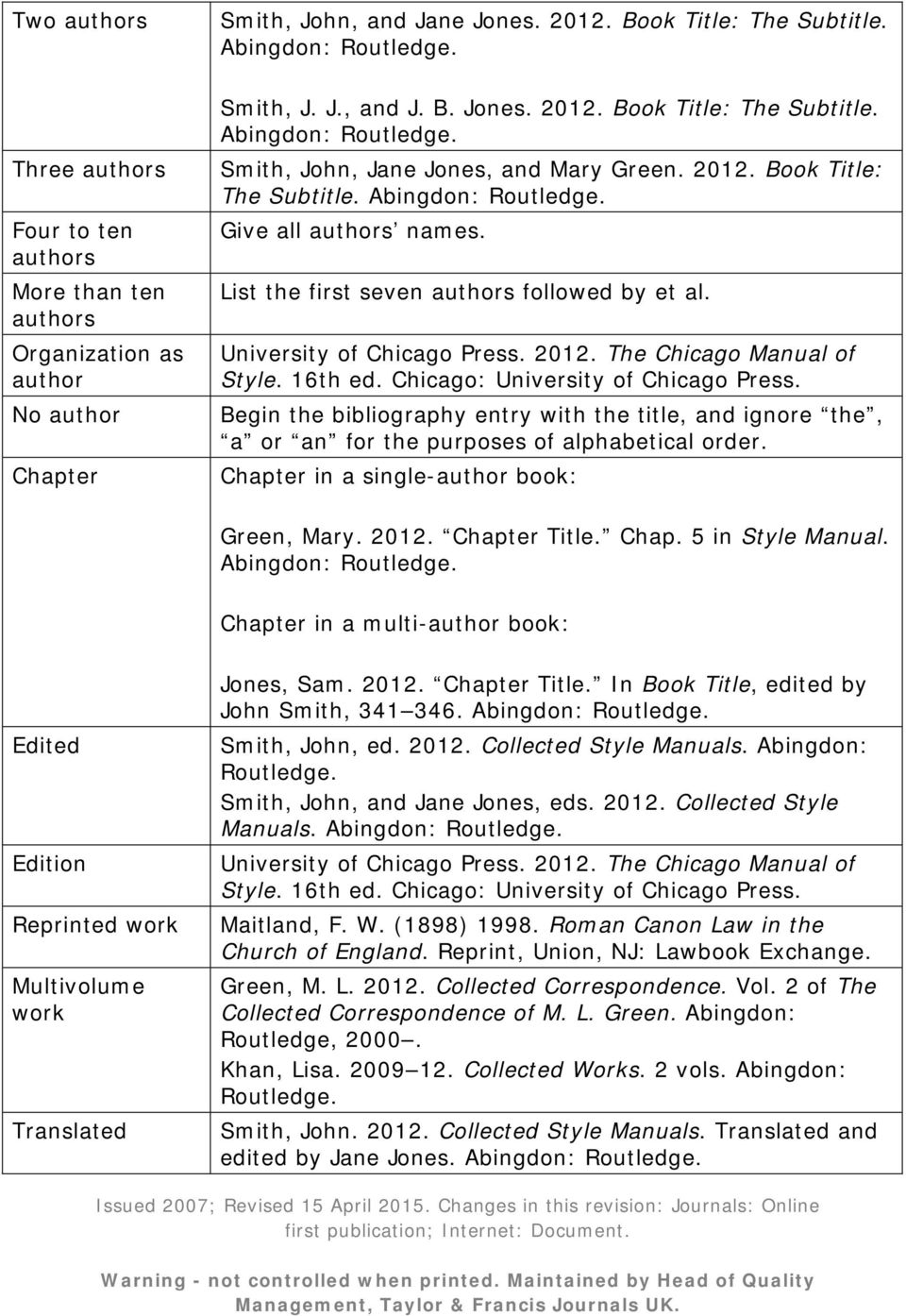 List the first seven authors followed by et al. University of Chicago Press. 2012. The Chicago Manual of Style. 16th ed. Chicago: University of Chicago Press.
