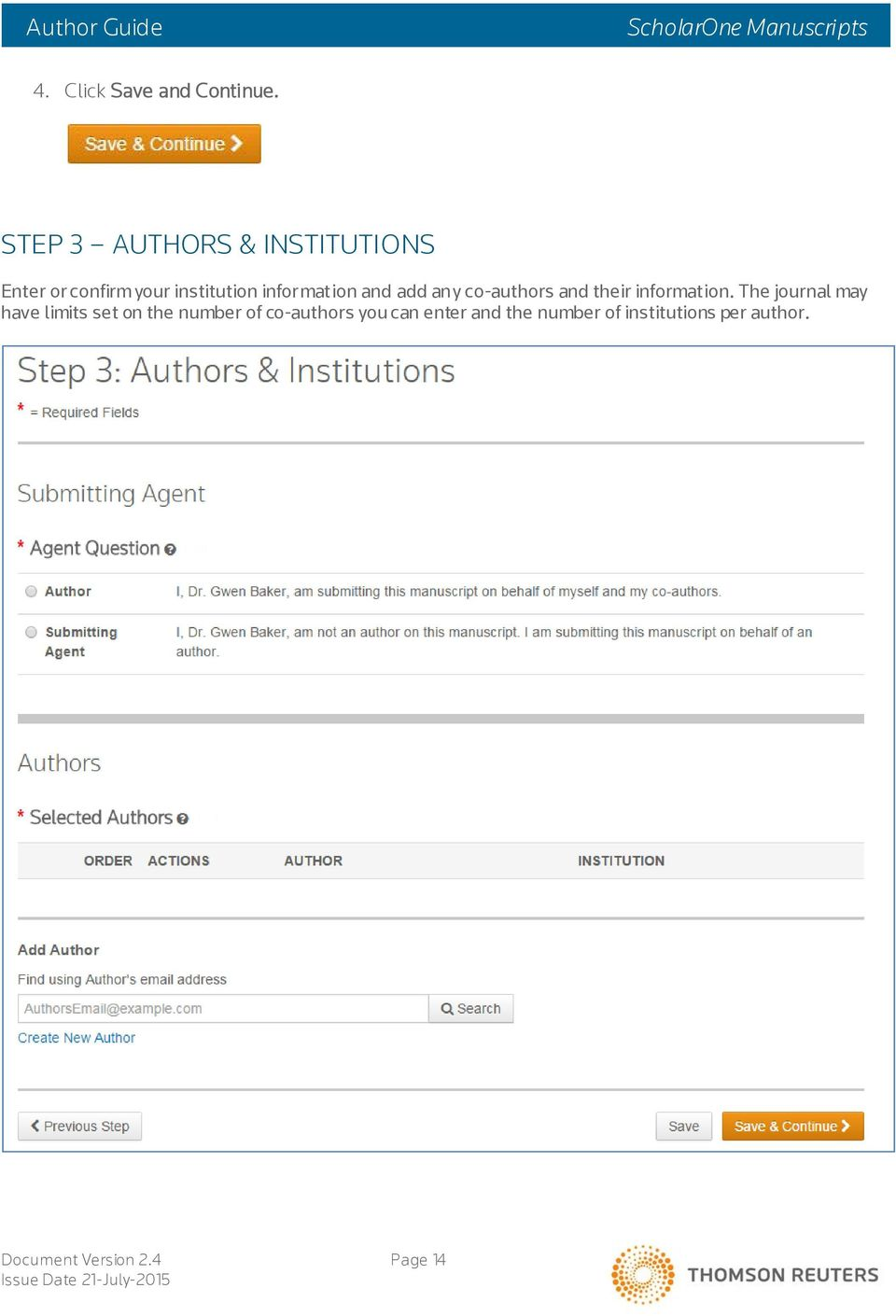 information and add any co-authors and their information.