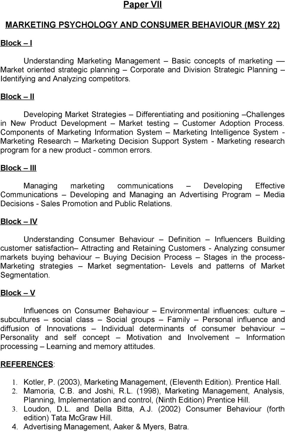 m sc psychology syllabus pdf block ii developing market strategies differentiating and positioning challenges in new product development market testing customer