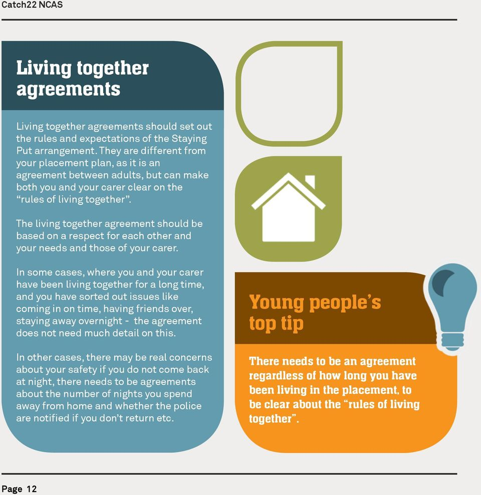 The living together agreement should be based on a respect for each other and your needs and those of your carer.