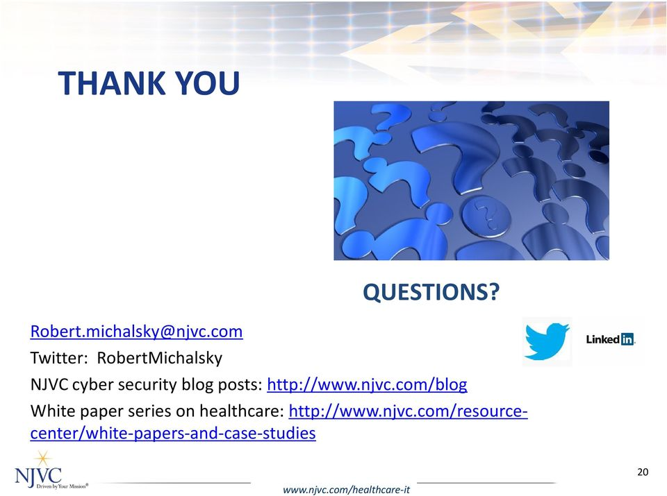 NJVC cyber security blog posts: http://www.njvc.