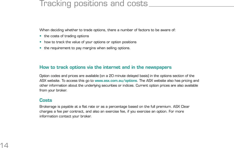 How to track options via the internet and in the newspapers Option codes and prices are available (on a 20 minute delayed basis) in the options section of the ASX website. To access this go to www.
