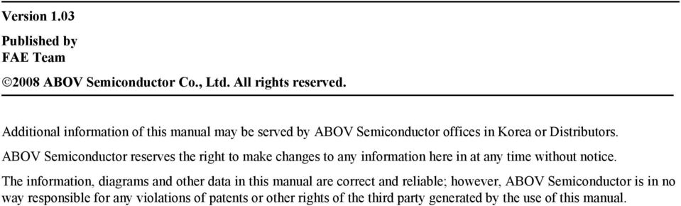 ABOV Semiconductor reserves the right to make changes to any information here in at any time without notice.
