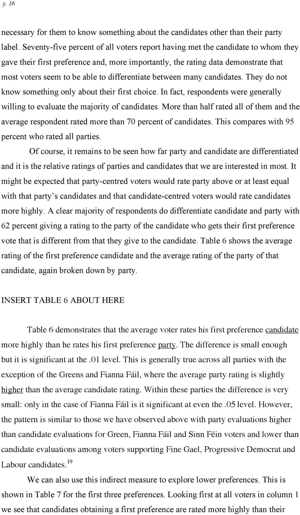 differentiate between many candidates. They do not know something only about their first choice. In fact, respondents were generally willing to evaluate the majority of candidates.