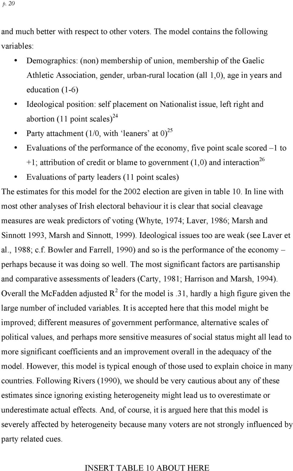 (1-6) Ideological position: self placement on Nationalist issue, left right and abortion (11 point scales) 24 Party attachment (1/0, with leaners at 0) 25 Evaluations of the performance of the