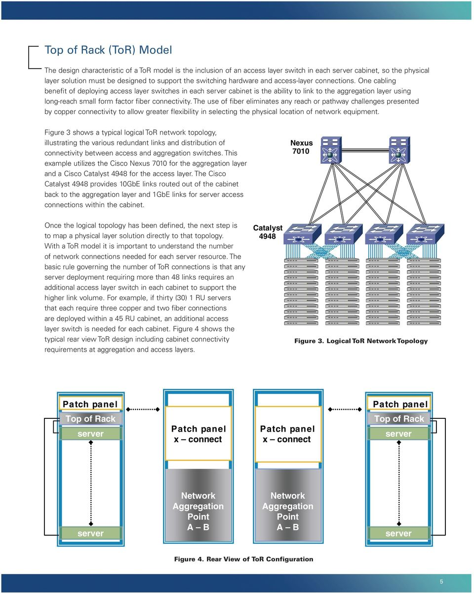 One cabling benefit of deploying access layer switches in each server cabinet is the ability to link to the aggregation layer using long-reach small form factor fiber connectivity.