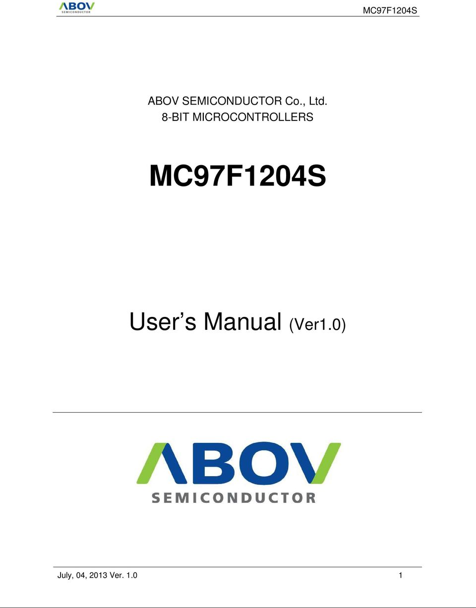 MC97F1204S User s Manual
