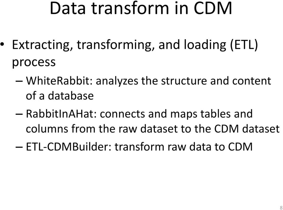 database RabbitInAHat: connects and maps tables and columns from