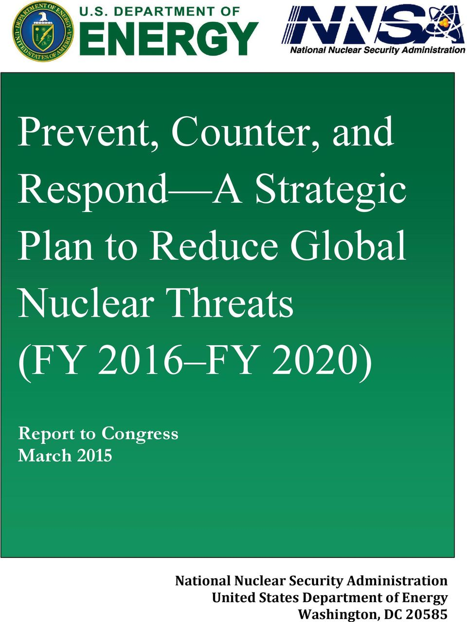 to Congress March 2015 National Nuclear Security
